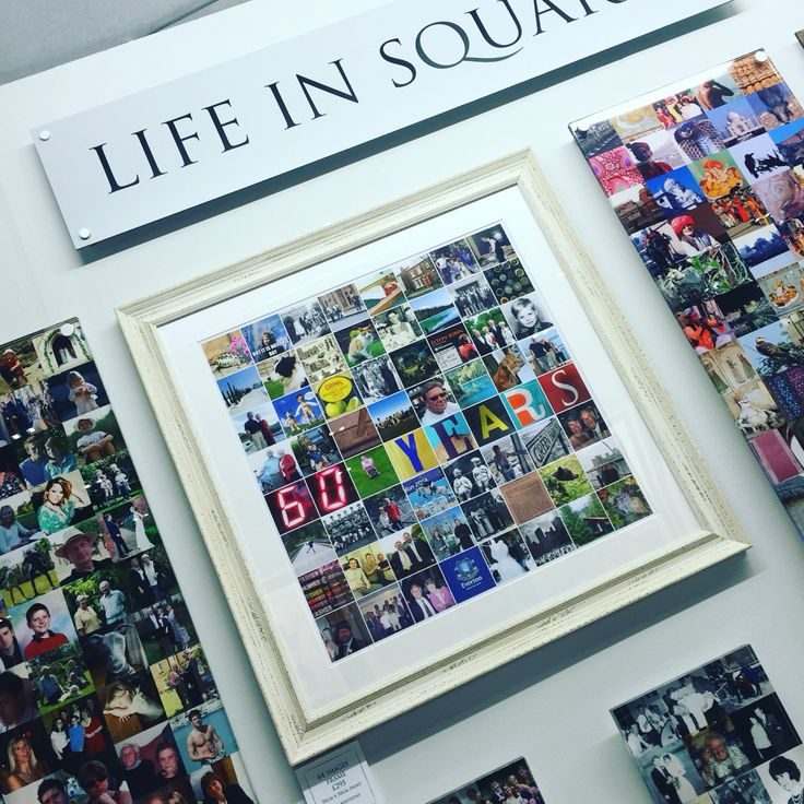 Milestone birthday gifts.  We regularly create snapshots of lives from the age of 18 to 100. This 60th birthday collage includes photos from boyhood onwards, favourite football team, concert tickets, memorable holidays to name but a few!