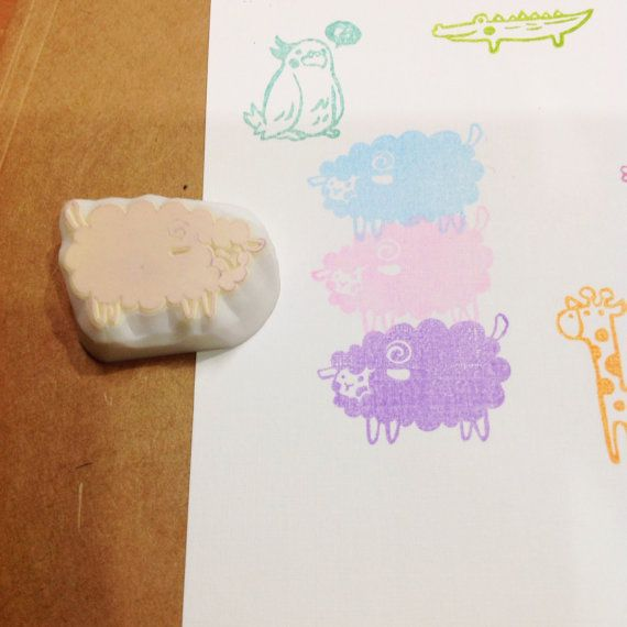 sheep rubber stamp by DeerdayShop