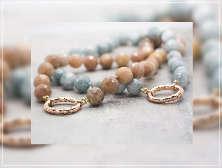 Collane azzurra e rosa con rifiniture e gancio in Argento 925, bagnato in Oro rosa. Fatte a mano in Italia. #fashion #handmade #necklace