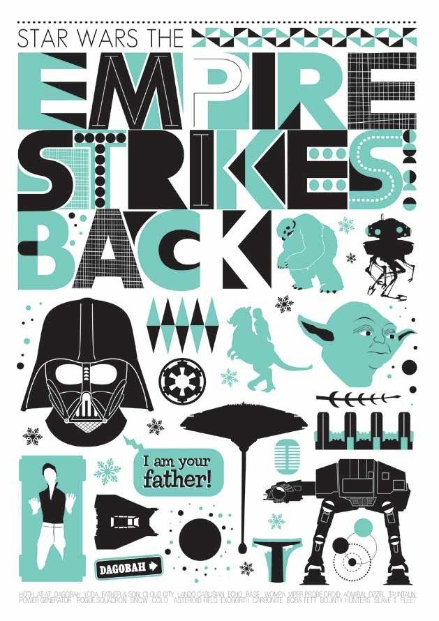 Star Wars Empire Strikes Back Movie Poster Minimalist by handz. , via Etsy.