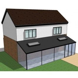 Detached house with Glass Conservatory Sketchup model