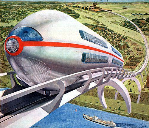 """Tomorrow's railroads in the sky"" San Francisco Chronicle, February 3, 1963 | Illustrator: Ralph Stein"