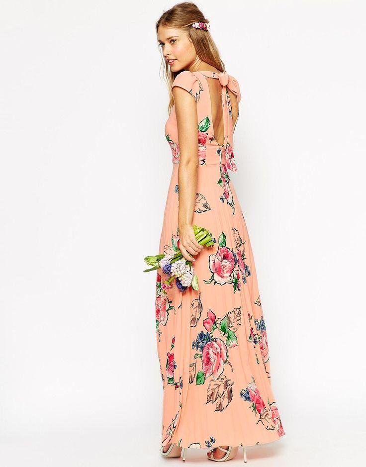 Imagen 2 de Vestido de tarde largo con falda plisada y estampado de rosas de ASOS WEDDING