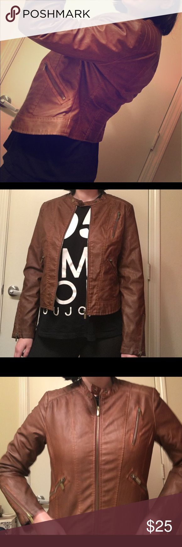 Brown faux leather jacket It's new. Forever 21 Jackets & Coats