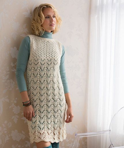 Layered Lace Dress, free knitting pattern from Red Heart