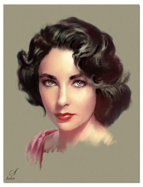 Brilliant Elizabeth Taylor portrait by Iranian pastel artist Shahin.