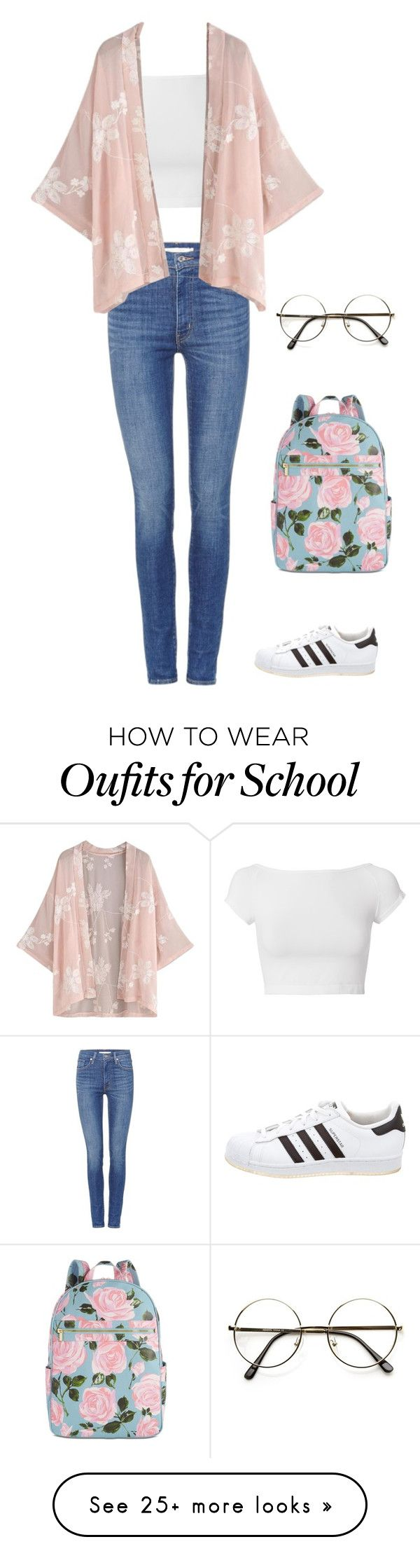 """Fall School Day"" by kayleemariem on Polyvore featuring Levi's, Helmut Lang, adidas and ban.do"
