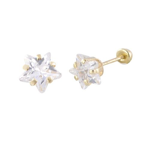 Star Stud Earrings 10k Yellow Gold Back 6mm Clear Cz Womens Childrens If You Are Looking