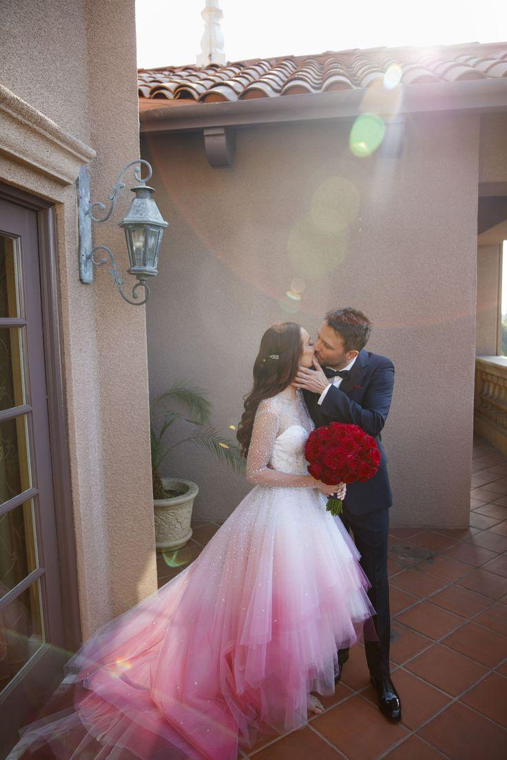 Aug. 20, 2016 - the bride wore a custom Christian Siriano wedding gown - INSIDE LYDIA HEARST AND CHRIS HARDWICK'S CALIFORNIA WEDDING
