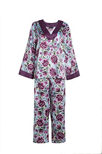 2f48a3328c TOPUNER Sleepwear Sets for Women with Lace, Floral Print Satin Pajam Set  Sleepwear Purple Color
