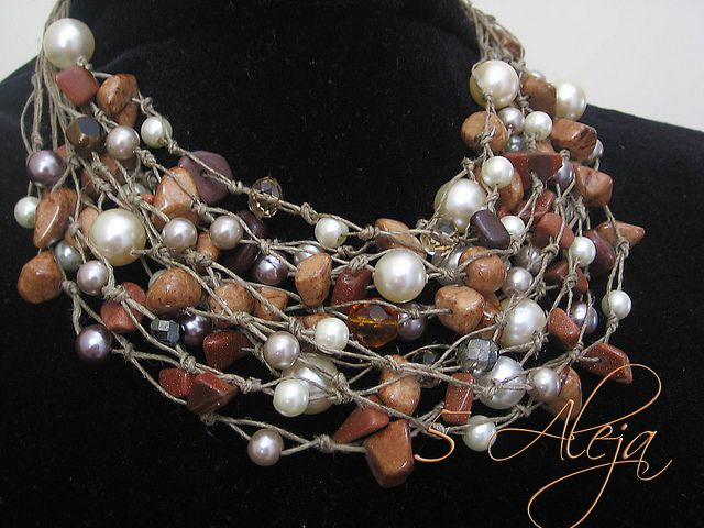 One of a Kind Elegant style womens pearls-Linen Necklace with Goldstone marble #Pearls #jewelry #women #ladies #accessories #jewelrybox #style #fashion #purses #Earrings #necklaces #bracelets #Fashion