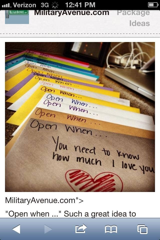 Love this idea. A personal note or package for a given mood or occasion.  A very thoughtful way to be there for someone when you can't physically be there #longdistancerelationships #carepackage #giftsforsoldiers