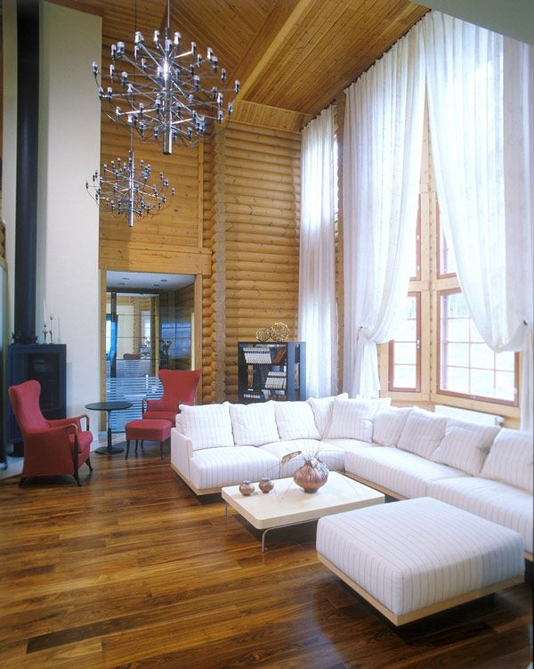 41 best modern log homes images on pinterest cottage for Log cabin interiors modern