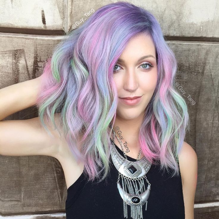 """Guy Tang on Instagram: """"Rainbow sorbet using @olaplex no 2 and vivid tones are our best friend! Mix and play and customize pastel shades while rebonding and strengthening the hair! Prebase using @kenraprofessional silver metallics @kasekathleen """""""