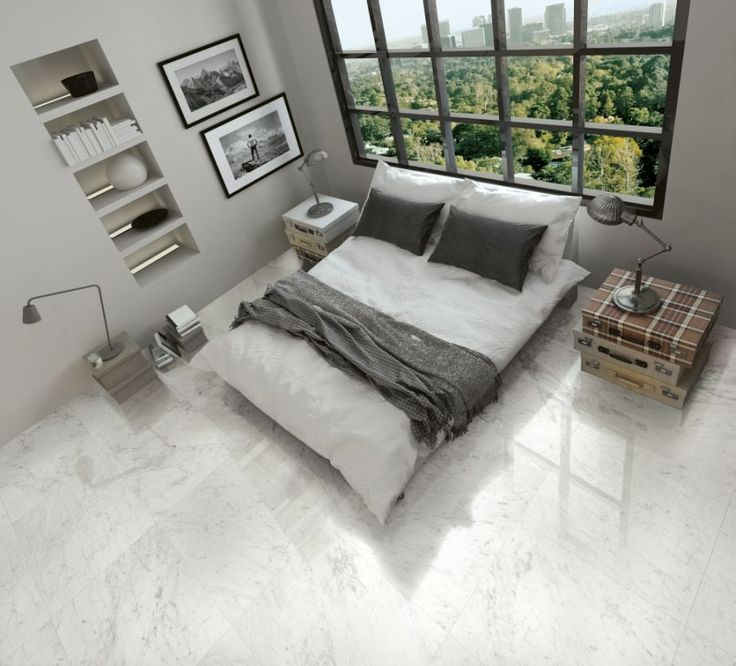 the carrara porcelain tile gives the stunning marble effect look but with the low maintenance upkeep of porcelain - Matchstick Tile Bedroom Decor