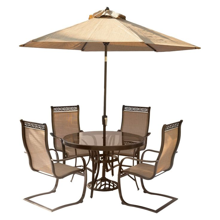 Monaco 5pc Outdoor Dining Set With C   Spring Chairs, Glass Top Dining Table ,