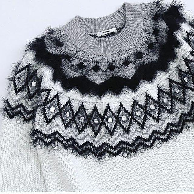 fair isle using furry yarn and sequin embellishment