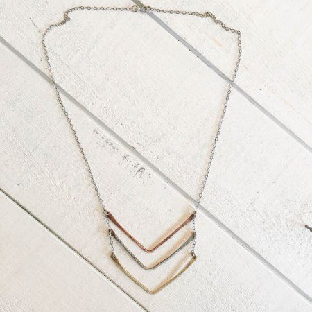 Hammered Tri Metal Chevron Stratus Necklace - click/tap to personalize and buy