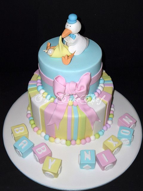 Baby shower cake | A pastel baby shower cake with stork & ba… | Flickr