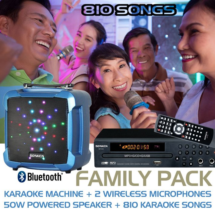 Sonken MP600 Family Deal, complete with T-08 Powered Speaker and 2 Wireless Microphones and 810 Songs!