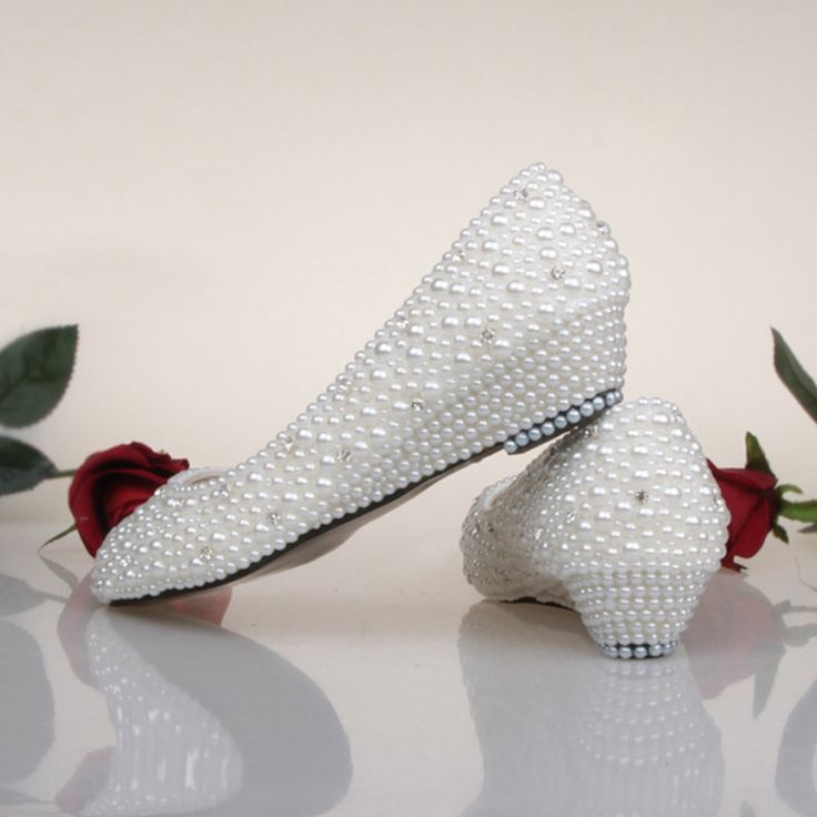 Bridesmaid Shoes White Ivory Pearl Wedding Shoes Fashion Low Wedge Heel Bridal Shoes Spring