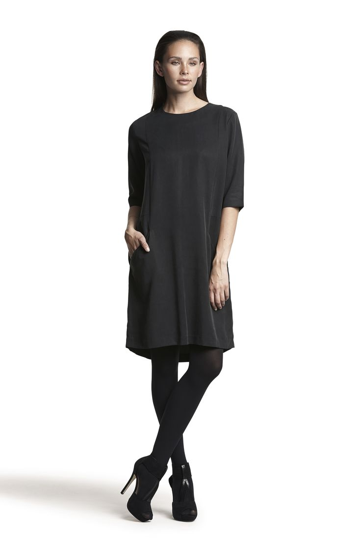 Gunilla woven dress and Gipsy pantyhose #black #fashion #elegant #simple #comfortable #AW15