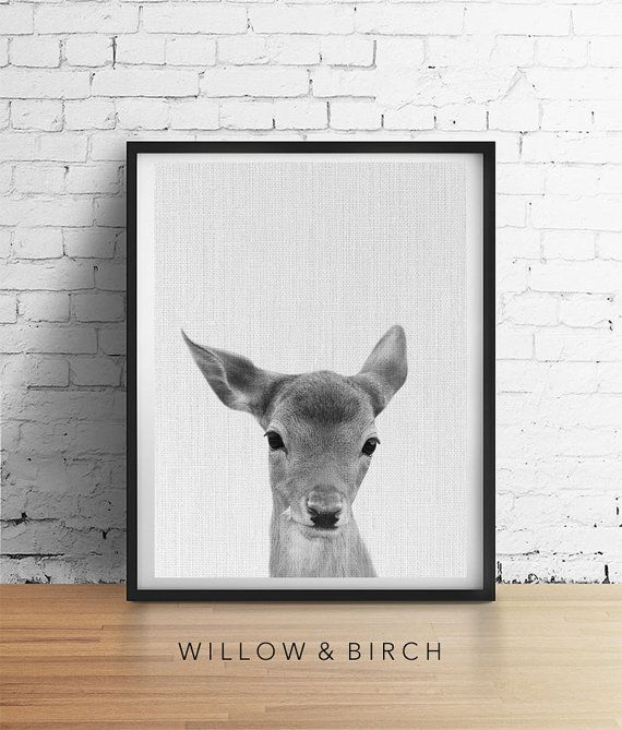 Printable Art Deer FAWN Print Baby Deer by WillowandBirchPrints