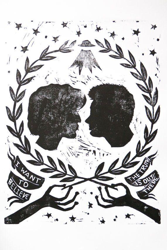 XFiles réimprimé bloc tirage Poster par closecallstudio sur Etsy, $20.00