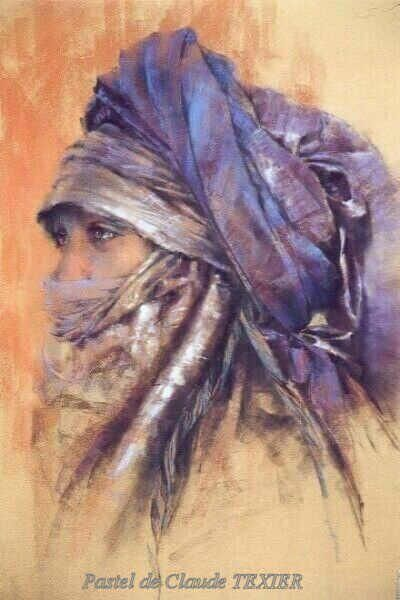 Woman with turban by artist Claude Texier soft pastel painting