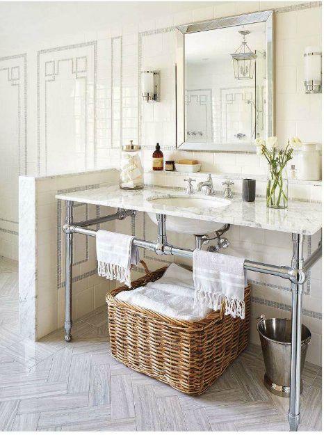 Herringbone patterned stone tile floor, shower wall mosaic/ceramic tile pattern | Canadian House  Home