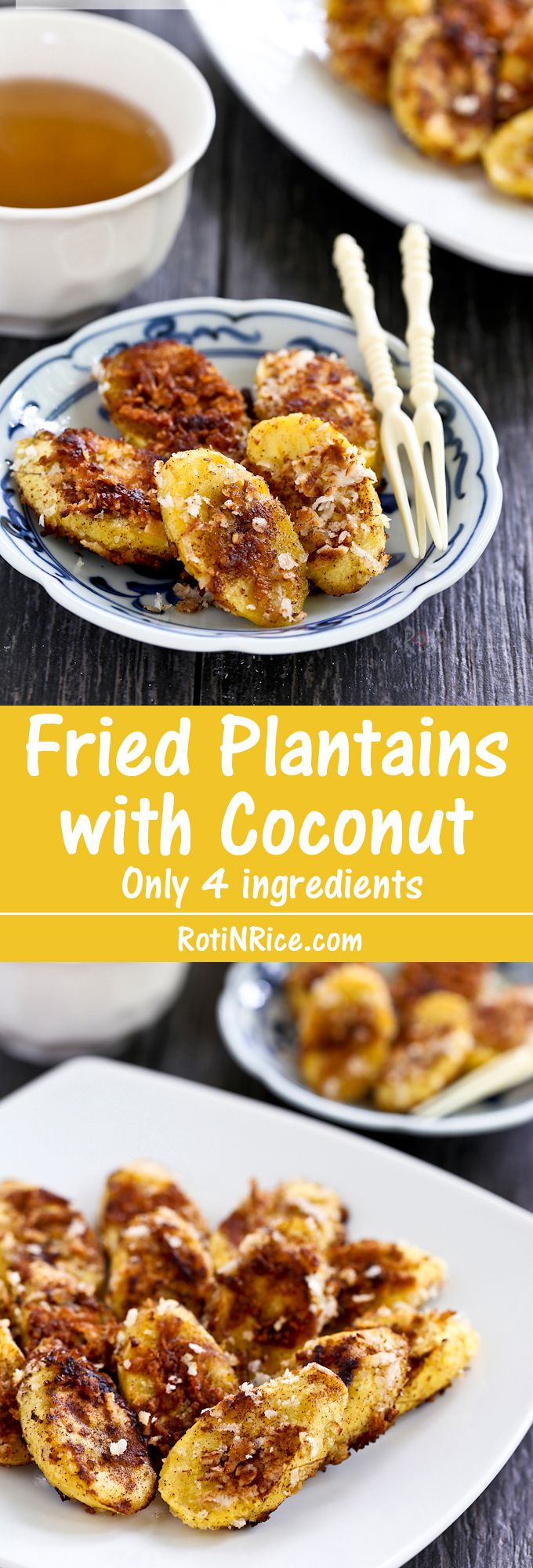 Quick and easy Fried Plantains with Coconut using only 4 ingredients. Takes under 20 minutes and is perfect for afternoon snack or tea time. | Food to gladden the heart at RotiNRice.com
