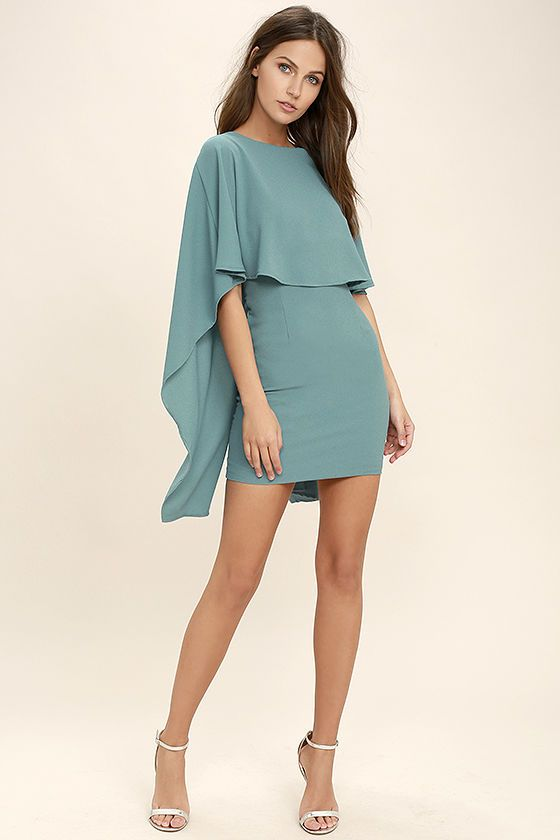 Things are looking up with items like the Best is Yet to Come Turquoise Blue Backless Dress making their way into your wardrobe! A unique, backless silhouette is created by woven poly fabric that drapes into a front tier, and cape sleeves that trail alongside the sheath skirt. Hidden back zipper.