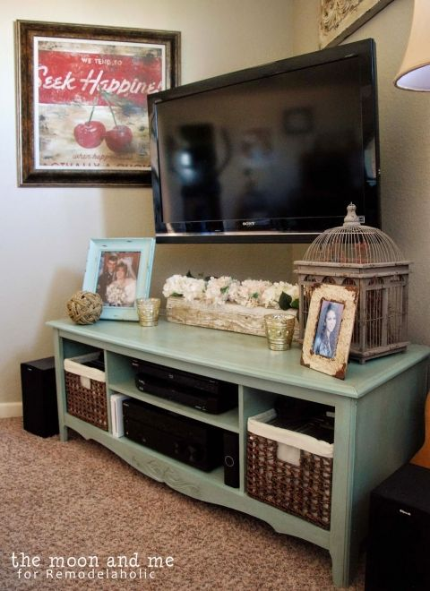 tv console made from an entertainment center, The Moon and Me on Remodelaholic