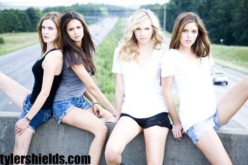 Sara Canning, Nina Dobrev, Candice Accola, Kayla Ewell from Vampire Diaries