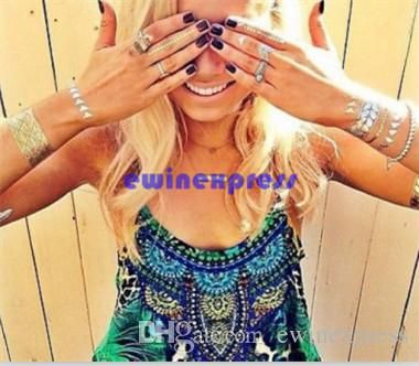 хиппи косы листья браслеты золото / серебро флэш-Foil временные татуировки beyonce в категории наклейки