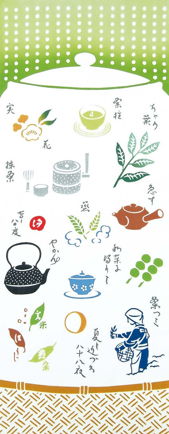 Japanese Tenugui Towel Cotton Fabric, Japanese Green Tea, Tea Pot, Tea Cup, Sweets, Kawaii Asian Modern Wall Art Fabric, Home Decor, JapanLovelyCrafts