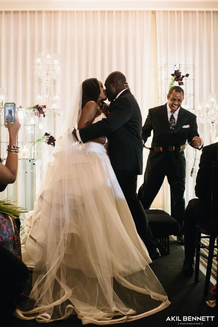 Bride and Groom's first kiss at Hotel Zaza Houston.