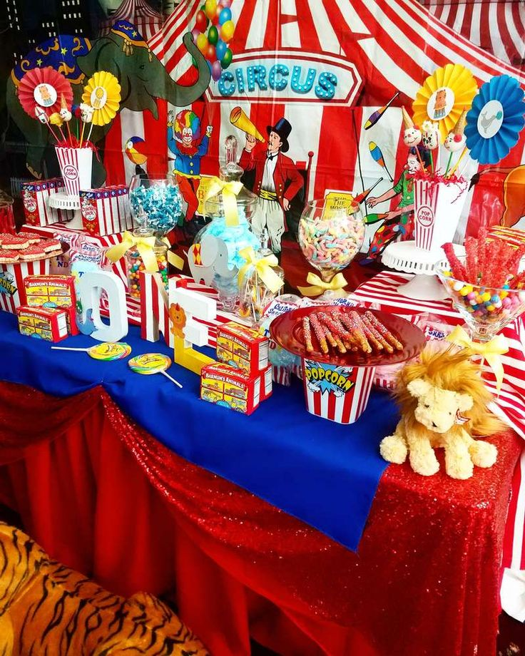 The dessert table at this Circus / Carnival Birthday Party is awesome!! See more party ideas and share yours at CatchMyParty.com #circus #desserttable