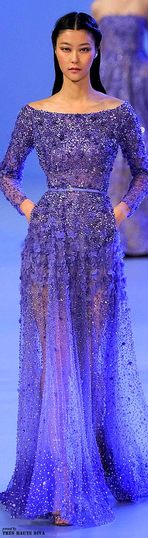 Elie Saab Spring 2014 Couture. Blue dress. Glitter.