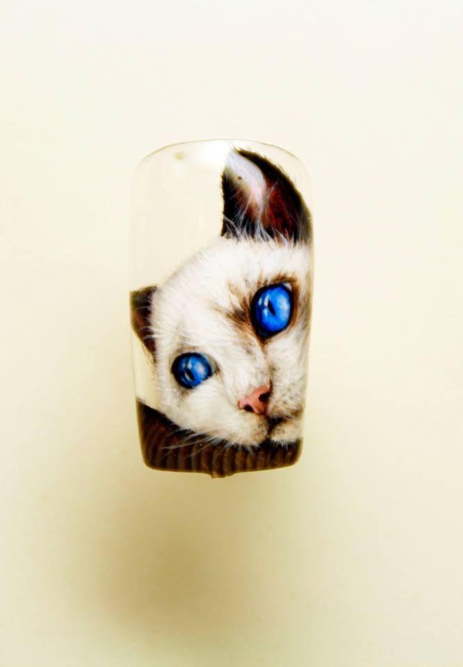 Cat Nail Art by Pisut Masanong #nail #nails #nailart