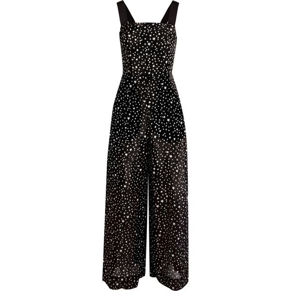 Diane von Furstenberg Printed cotton and silk-blend jumpsuit ($275) ❤ liked on Polyvore featuring jumpsuits, jumpsuit, wide leg jumpsuits, diane von furstenberg jumpsuit, jump suit, evening jumpsuits and cocktail jumpsuit