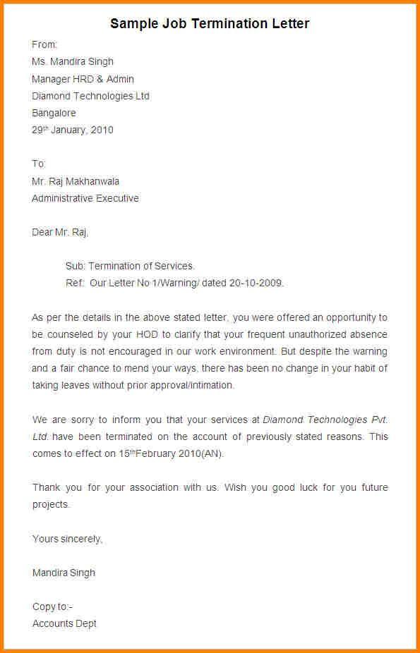 termination notice template mple job letterg sample request letter - job termination letters