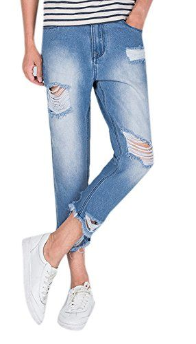 Men S Distressed Light Wash Ripped Slim Fit Ankle Cropped Jeans
