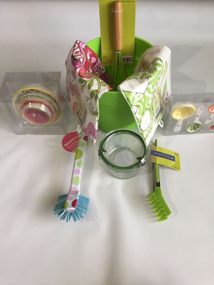 New Green Bundle kitchen accessories Bucket: towel brush whisk tong jar cup  | eBay
