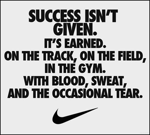 Success isn't given.  It's earned.  On the track, on the field, in the gym. With blood, sweat, and the occasional tear.