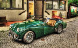 triumph tr3 old car old style retro vintage old cabriolet car green