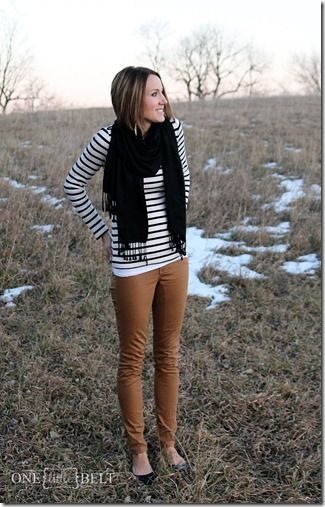 The perfect neutral outfit- camel skinnies, stripes and a black scarf!:
