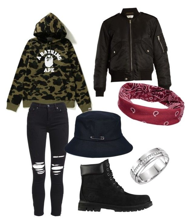 Mic Drop by collinz99 on Polyvore featuring polyvore fashion style Yves Saint Laurent AMIRI Timberland Mudd clothing