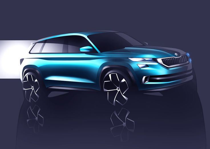 The exterior design of the ŠKODA VisionS reflects the brand's new design identity into the SUV segment: All the edges and lines are clear, precise and sharp #skoda #VisionS #sketch #designstudy #conceptcar