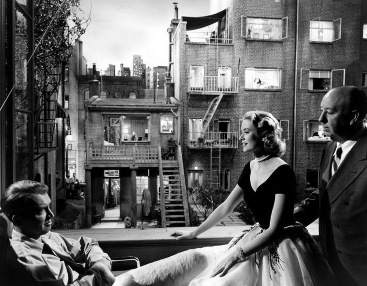James Stewart, Grace Kelly & Alfred Hitchcock on the set of Rear Window